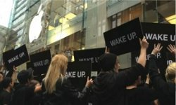 wake up campagne samsung flashmob galaxy s 3 apple store